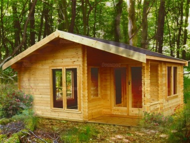 Two Room Apex Log Cabin 242 Integral Porch