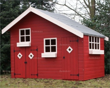 Painted two storey playhouse 218 with garage for Wooden playhouse with garage