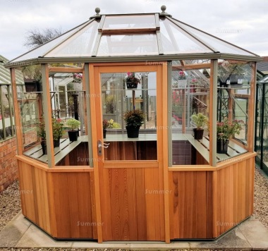 Cedar octagonal greenhouse 86 toughened glass for Octagonal greenhouse plans