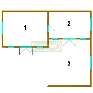 LOG CABINS xx - Floor plan and sizes