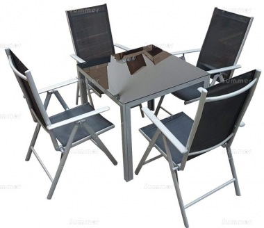 4 Seater Dining Set 302 - Textilene Reclining Chairs, Square Table