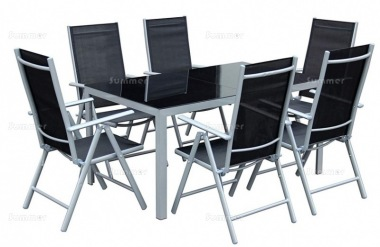 6 Seater Dining Set 304 - Textilene Recliners, Rectangular Table