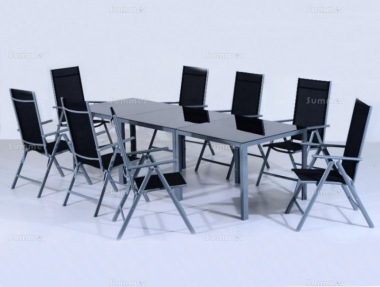 8 Seater Dining Set 308 - Textilene Recliners, Rectangular Table
