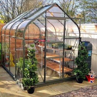 Green Aluminium Greenhouse 144 - Curved Eaves