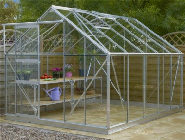 Aluminium Greenhouse 172 - Silver, Base Included