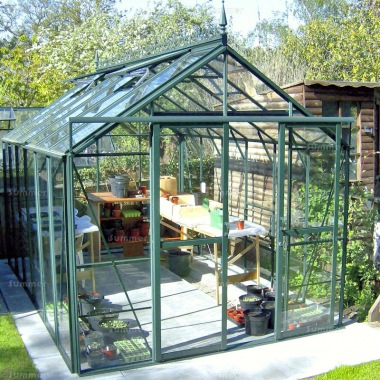 Aluminium Greenhouse 191 - Toughened Glass, Double Door
