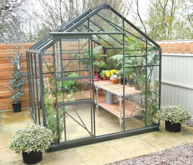 Green Aluminium Greenhouse 21 - Extra Tall High Eaves