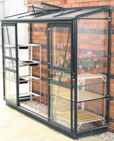 Aluminium Lean To Greenhouse 353 - Double Doors