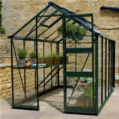 Aluminium Greenhouse 248 - Green, Zero Threshold Doorway