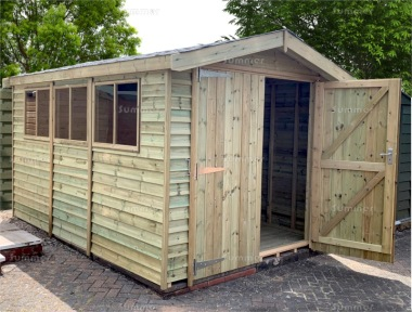 Pressure Treated Apex Shed 116 - Rustic Boards