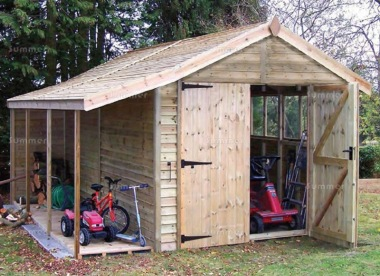 Pressure Treated Apex Shed 120 - Rustic Board, Log Store