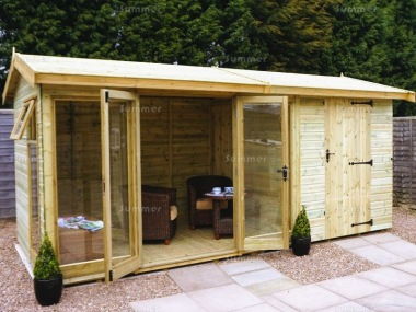 Side Door Apex Summerhouse 77 - Two Rooms, Large Panes