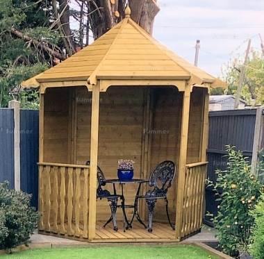 Wooden Gazebo 087 - Hexagonal, Pressure Treated, Slatted Roof