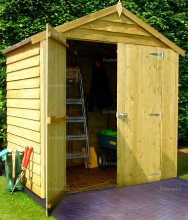 Pressure Treated Apex Shed 903 - Overlap, Double Door