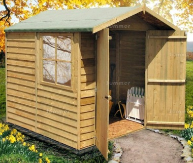 Pressure Treated Apex Shed 908 - Overlap, Double Door