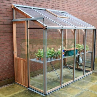 Cedar Lean To Greenhouse 331 - Aluminium Hybrid