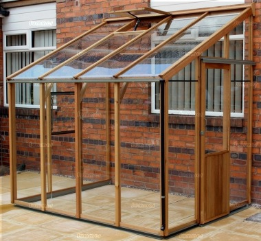Cedar Lean To Greenhouse 329 - Aluminium Hybrid