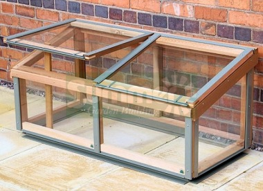 Toughened Glass Cedar Cold Frame 722 - Aluminium Capping