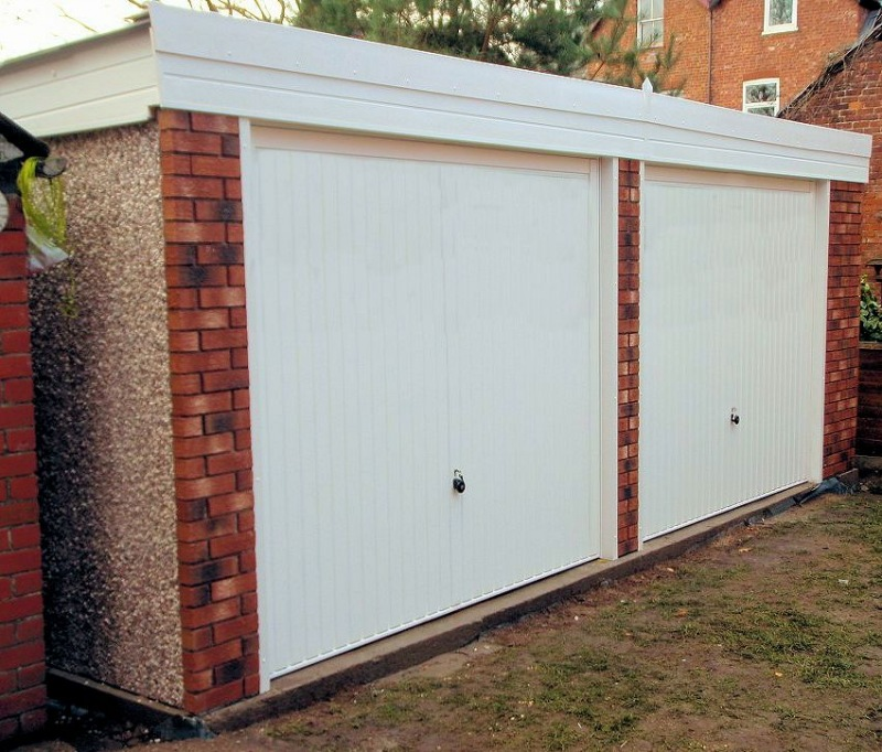 Spar Pent Double Concrete Garage 234 - Brick Posts, PVCu Windows and Fascias
