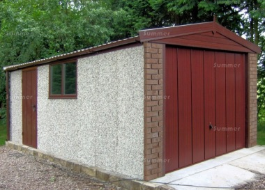 Spar Apex Concrete Garage 300 - Dark Woodgrain, Brick Posts