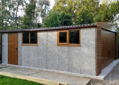Spar Apex Double Concrete Garage 336 - Light Woodgrain