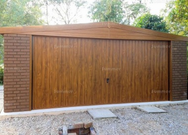Brick Apex Double Concrete Garage 455 - Light Woodgrain Finish