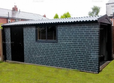 Brick Apex Concrete Garage 468 - Charcoal, Guttering