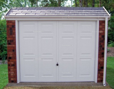 Brick Concrete Garage 664 - Tiled Front, Personnel Door