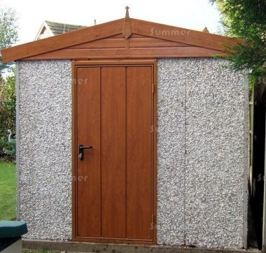 Spar Apex Concrete Shed 676 - Woodgrain Window, Fascias and Door