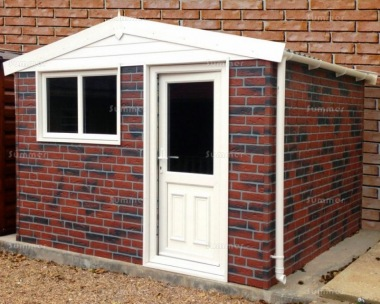 Brick Apex Concrete Shed 883 - PVCu Window, Fascias and Door