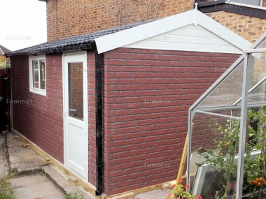 Brick Apex Concrete Shed 893 - PVCu Window, Fascias and Door