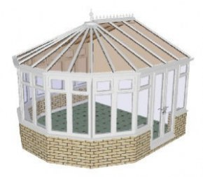 Victorian 5 bay Conservatory 44 - PVCu, Dwarf Wall