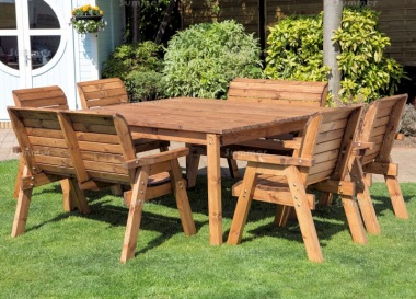 8 Seater Dining Set 507 - Armchairs, Benches, Square Table