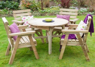 Pressure Treated 4 Seater Dining Set 896 - Armchairs, Round Table
