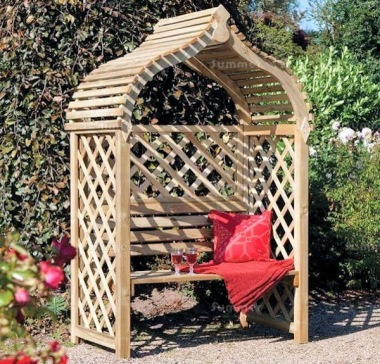 Garden Arbour 341 - Pressure Treated, Curved Slatted Roof