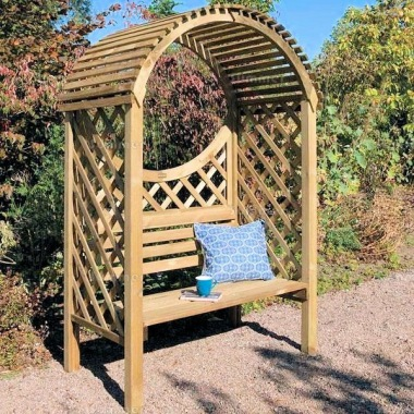 Pine Garden Arbour 343 - Pressure Treated, Slatted Roof