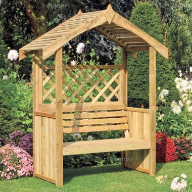 Garden Arbour 345 - Pressure Treated, Slatted Roof