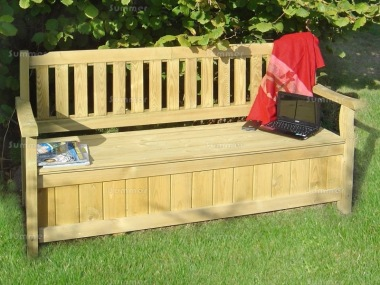 3 Seater Storage Bench 214 - Pressure Treated, Hinged Lid