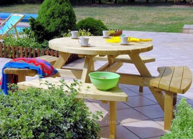 8 Seater Round Picnic Bench 215 - 3ft 7in Table, Pressure Treated