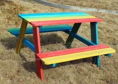4 Seater Childrens Picnic Bench 193 - With Multi Coloured Paint Finish
