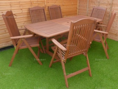 6 Seater Hardwood Set 130 - Reclining Chairs, Extending Table