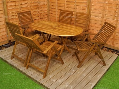 6 Seater Teak Set 186 - Reclining Chairs, Folding Table