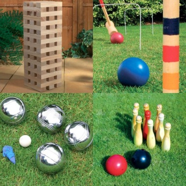 Multi Pack 525 - Wooden Blocks, Croquet, Boules and Skittles