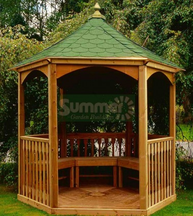 Wooden Gazebo 10 - Hexagonal, Pressure Treated, Felt Tiles