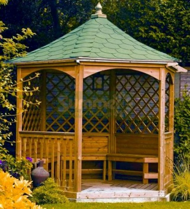 Wooden Gazebo 15 - Hexagonal, Pressure Treated, Felt Tiles