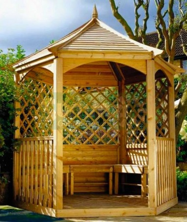 Wooden Gazebo 22 - Hexagonal, Pressure Treated, Slatted Roof
