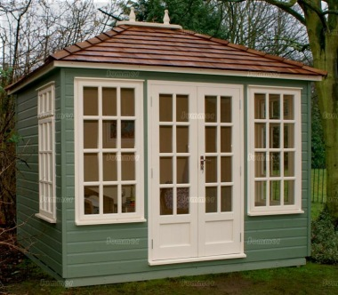 Hipped Summerhouse 407 - Painted, Double Glazed, Insulated