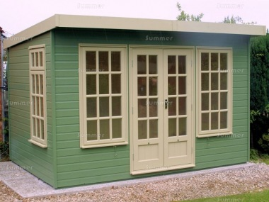 Pent Garden Office 475 - Painted, Double Glazed, Insulated