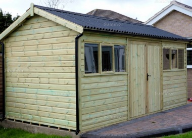 Pressure Treated Apex Shed 634 - Thicker Boards, Corrugated Roof