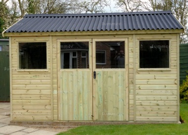 Pressure Treated Apex Shed 636 - Thicker Boards, Corrugated Roof